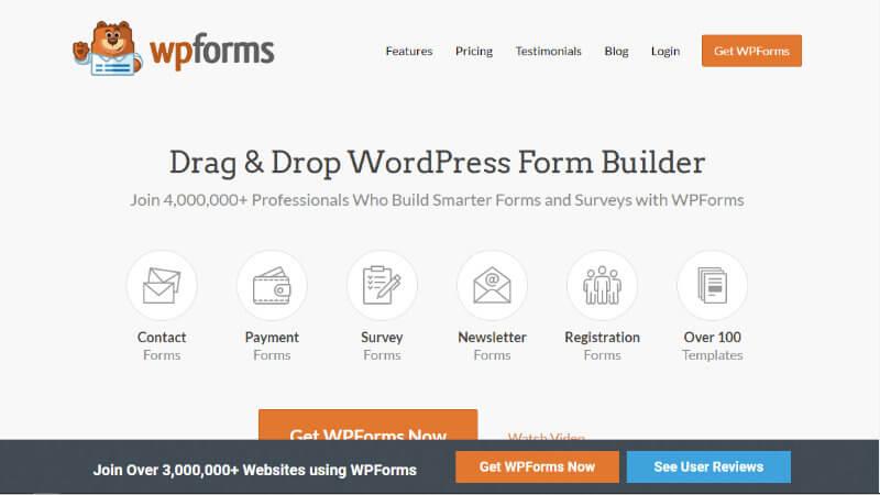 wpformsのホームページ