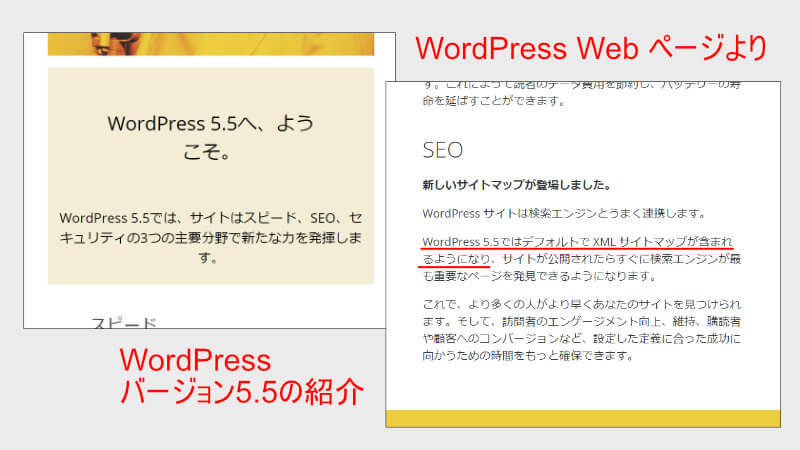 WordPress Webページ