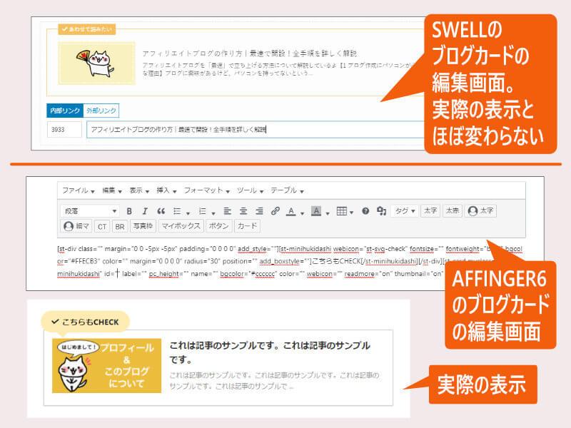 SWELLとAFFINGERのブログカード比較