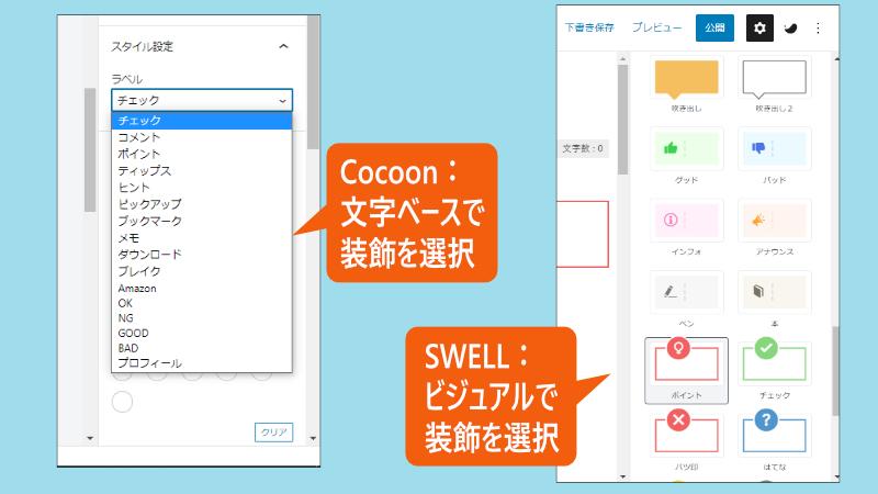 CocoonとSWELLの設定画面比較