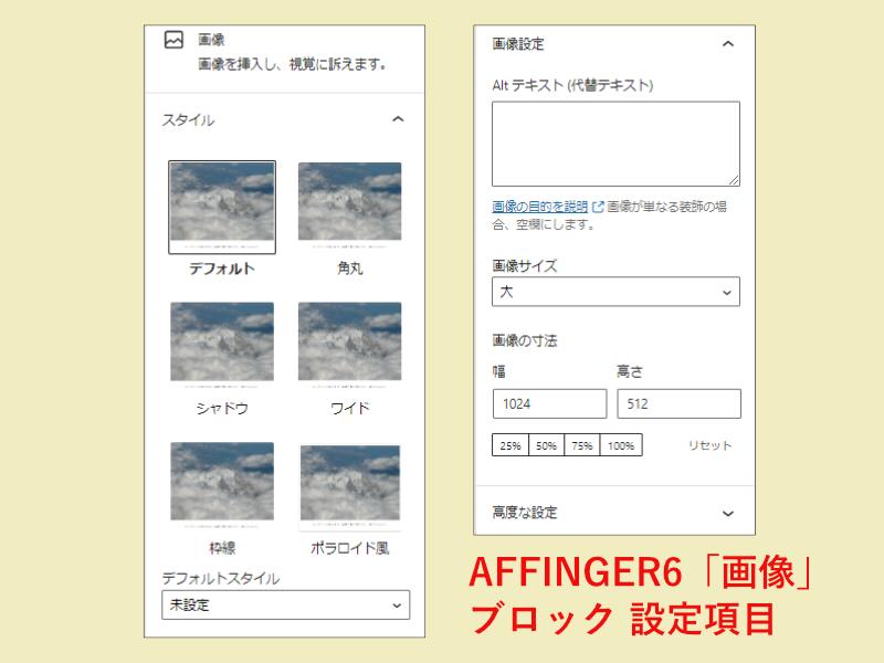 AFFINGER6の画像ブロックの設定項目