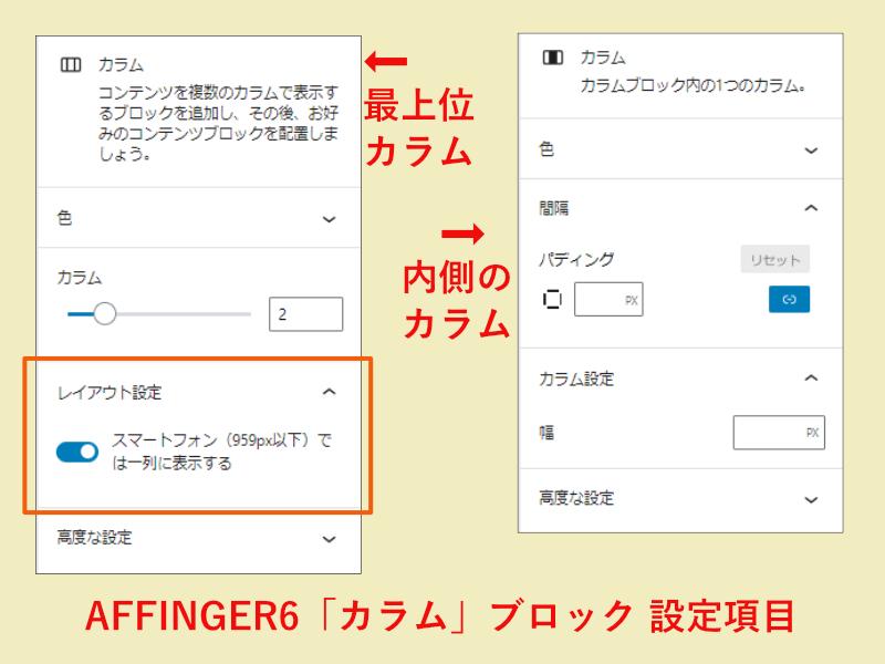 AFFINGER6のカラムブロックの設定画面